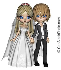Cute Toon Wedding Couple - 1