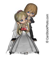 Cute Toon Wedding Couple - 3