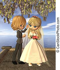 Cute Toon Wedding Couple on Balcony - Cute toon wedding...