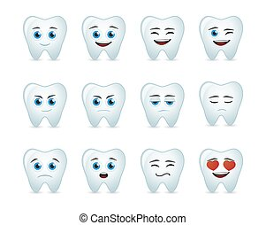 cute tooth avatar expression set - Illustration of a cute...