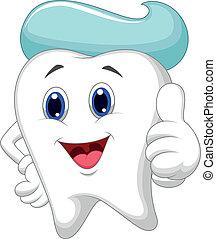 Cute tooth cartoon giving a thumb u - Vector illustration of...