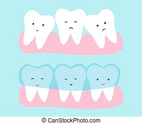 Cute tooth cartoon vector. Invisible dental aligner  concept illustration. Transparent braces for crooked teeth.
