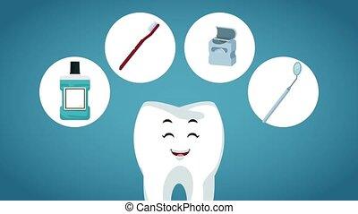 Cute tooth dental cartoon HD animation - Tooth cartoon with...