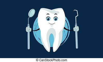 Cute tooth dental cartoon HD animation - Tooth with dental...