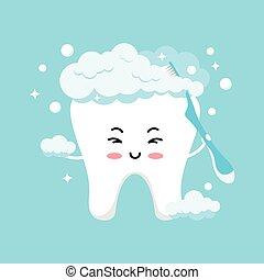 Cute tooth emoji in foam brushing himself with toothbrush.