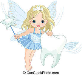 Illustration of a cute little Tooth Fairy flying with Tooth