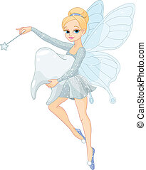 Cute Tooth Fairy flying with Tooth - Illustration of a cute ...