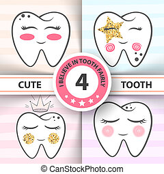 Cute tooth - medical, health illustration.