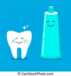 Cute tooth with cartoon toothpaste. Vector