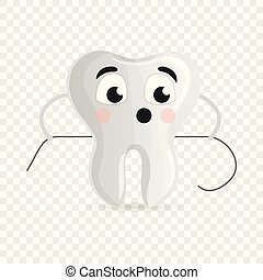Cute tooth with floss icon, cartoon style