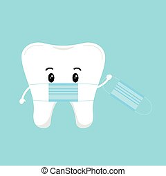 Cute tooth with medical mask holding a protective coronavirus mask isolated on background.