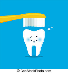 Cute tooth with toothbrush. Vector illustration. For kids, web, print