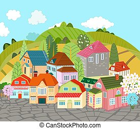 cute town against green hills and blue sky with clouds. cityscap