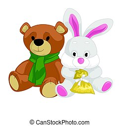 Cute toy teddy bear and rabbit