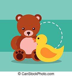 cute toys bear teddy and plastic duck