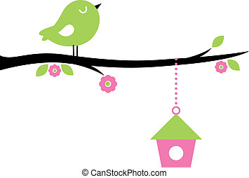 cute, træ, fugl, branch, forår