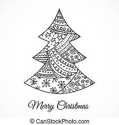 cute, træ, hånd, doodles, stram, jul