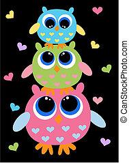 cute, três, coloridos, corujas