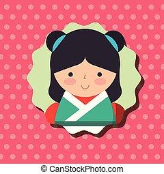cute traditional japanese kokeshi doll in kimono dots...