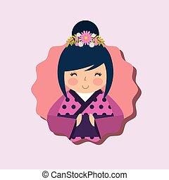 cute traditional japanese kokeshi doll in kimono vector...