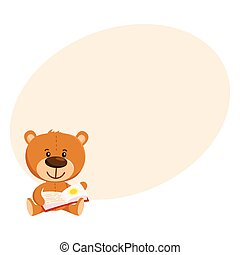 Cute traditional, retro style teddy bear character reading a book