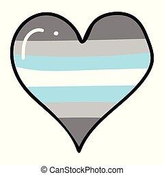 Cute trans boy heart cartoon vector illustration motif set....