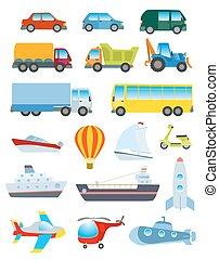 Cute transport set. Simple cartoon road, air, water...