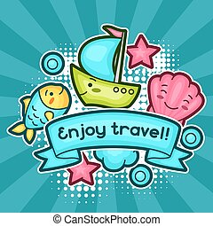 Cute travel background with kawaii doodles. Summer collection of cheerful cartoon characters fish, shell, ship, cloud and decorative objects