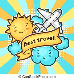 Cute travel background with kawaii doodles. Summer collection of cheerful cartoon characters sun, airplane, cloud and decorative objects