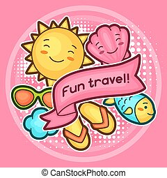 Cute travel background with kawaii doodles. Summer collection of cheerful cartoon characters sun, fish, glasses, shell and decorative objects
