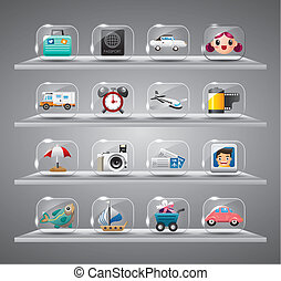 Cute travel icons collection,Transparent glass button
