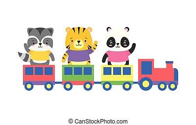 cute, trem, animais, brinquedo