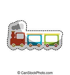 cute, trem, brinquedo, ícone