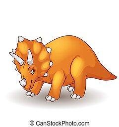 cute, triceratops, caricatura, isolado