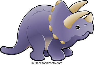 cute, triceratops, ilustração, dinossauro