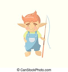 Cute troll boy character, funny creature standing with fishing rod cartoon vector Illustration