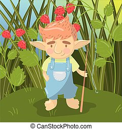 Cute troll boy character, funny creature standing with fishing rod on the backround of field of strawberry colorful vector illustration