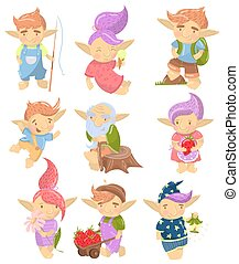 Cute troll characters set, funny creatures with colored hair in different situations cartoon vector Illustrations