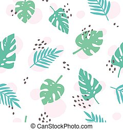 Cute tropical palm leaves. Vector