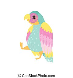Cute Tropical Parrot with Iridescent Plumage Flying Vector Illustration
