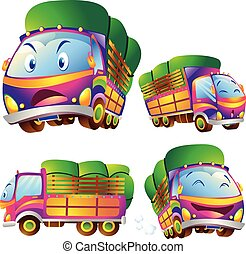 Cute truck cartoon many actions