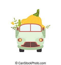 Cute Truck Delivering Giant Squash, Front View, Shipping of Fresh Garden Vegetables Vector Illustration