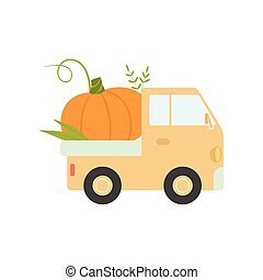 Cute Truck Delivering Pumpkin, Side View, Shipping of Fresh Garden Vegetables Vector Illustration