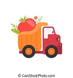 Cute Truck Delivering Tomato, Side View, Shipping of Fresh Garden Vegetables Vector Illustration