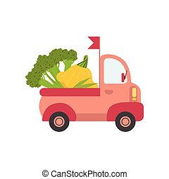 Cute Truck with Broccoli and Squash, Side View, Food Delivery, Shipping of Fresh Garden Vegetables Vector Illustration