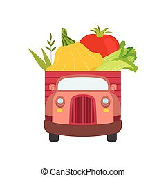 Cute Truck with Fresh Squash, Tomato and Chinese Cabbage, Front View, Food Delivery, Shipping of Garden Vegetables Vector Illustration