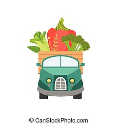 Cute Truck with Fresh Sweet Pepper, Broccoli and Chinese Cabbage, Front View, Food Delivery, Shipping of Garden Vegetables Vector Illustration
