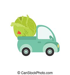 Cute Truck with Giant Cabbage, Side View, Food Delivery, Shipping of Fresh Garden Vegetables Vector Illustration