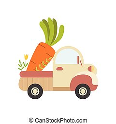 Cute Truck with Giant Carrot, Side View, Food Delivery, Shipping of Fresh Garden Vegetables Vector Illustration