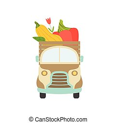 Cute Truck with Giant Fresh Pepper and Zucchini, Front View, Food Delivery, Shipping of Garden Vegetables Vector Illustration